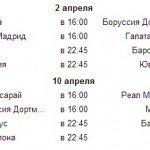 Лига чемпионов, 1/4 финала, Плей-офф. Расписание матчей